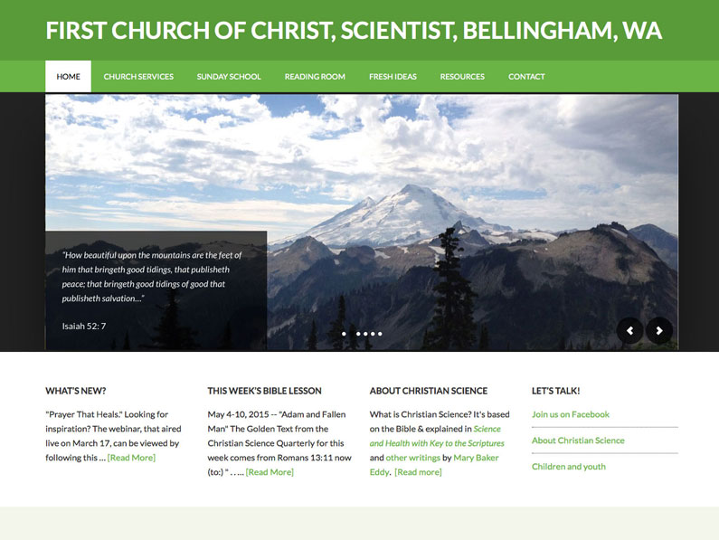 Christian Science Bellingham WordPress website by Nine Planets LLC and web design contractor Sherry Sink