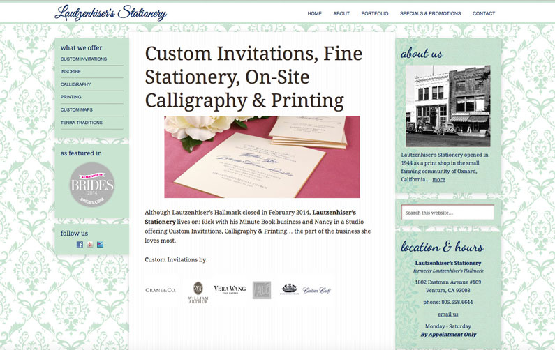 Lautzenhiser's Stationery WordPress website created by Nine Planets LLC and web design contractor Sherry Sink