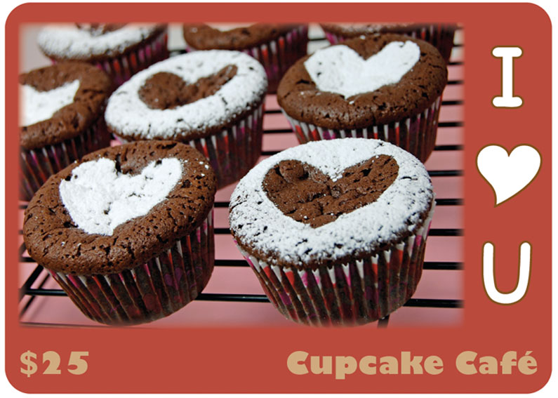 Mock cupcake shop gift card