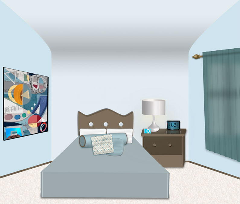 3D bedroom made in Photoshop and Illustrator