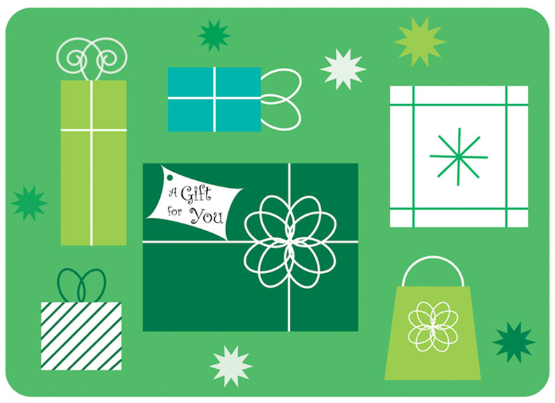 Holiday gift card in a variety of greens