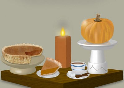 3D Thanksgiving Tabletop Illustration
