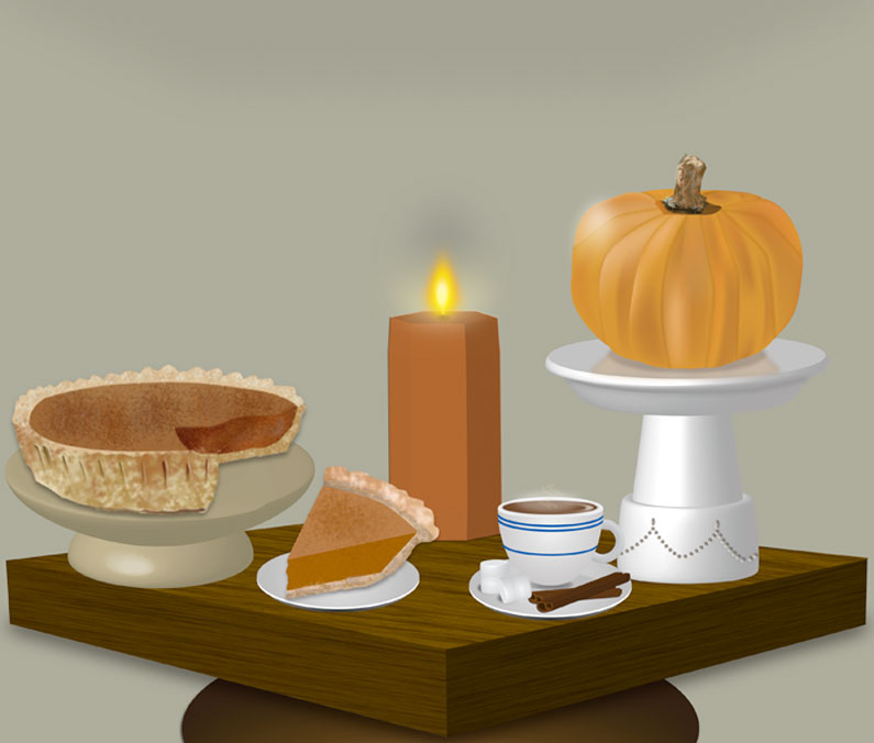 3D Thanksgiving tabletop made with Photoshop and Illustrator