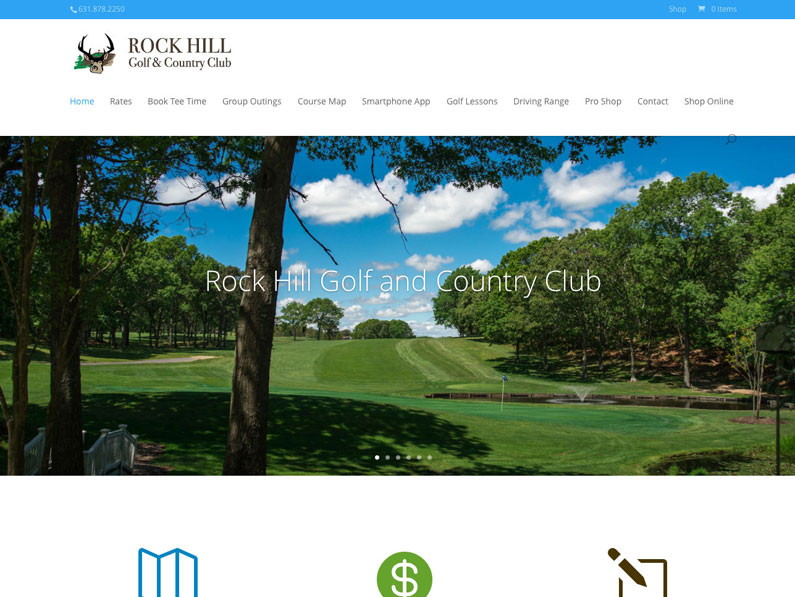 Rock Hill Golf & Country Club WordPress website created by Nine Planets LLC and web design contractor Sherry Sink