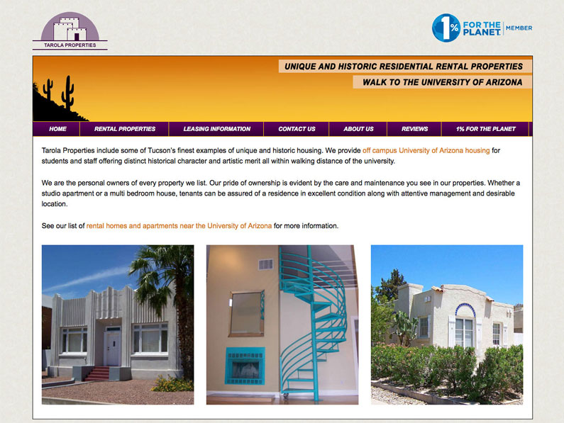 Tarola Properties WordPress custom website created by a creative team of Nine Planets LLC, Annie Middleton, Paul Middleton, and web design contractor Sherry Sink
