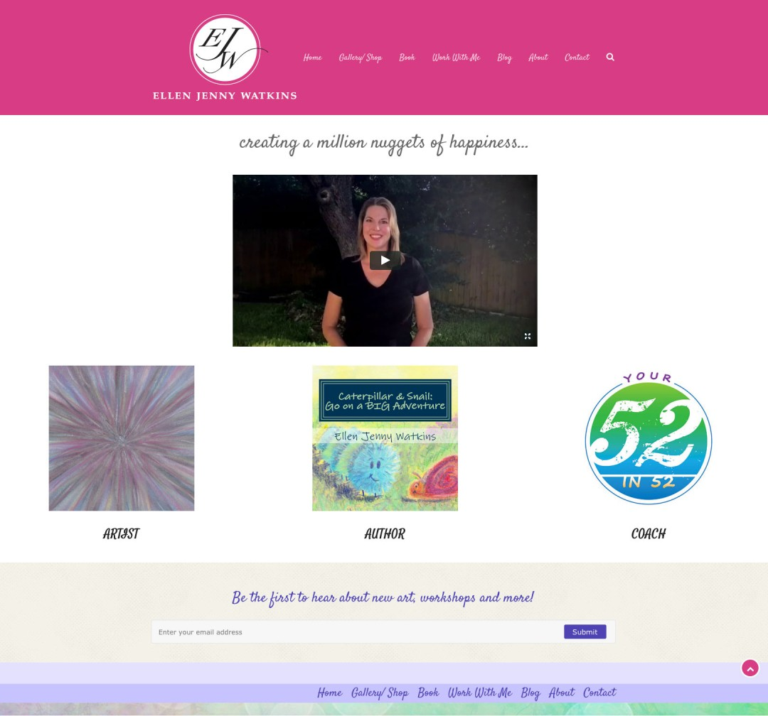 Ellen Jenny Watkins quick launch new content setup by Sherry Sink Web Design