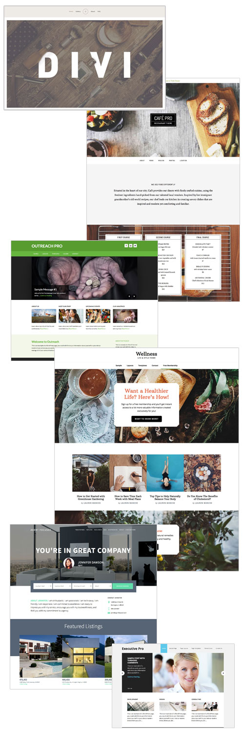 collage of potential WordPress themes to choose from
