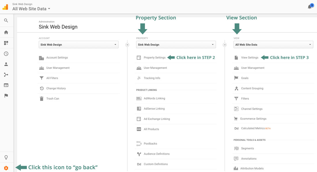 screenshot of Google Analytics property and view sections