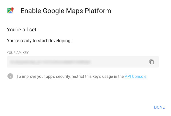 screenshot of box with API key provided by Google